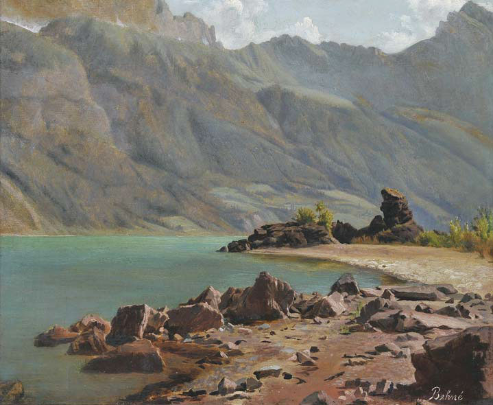 Zeta Behné (Richardson), Untitled (High Sierra Lake), c. 1890, oil on board