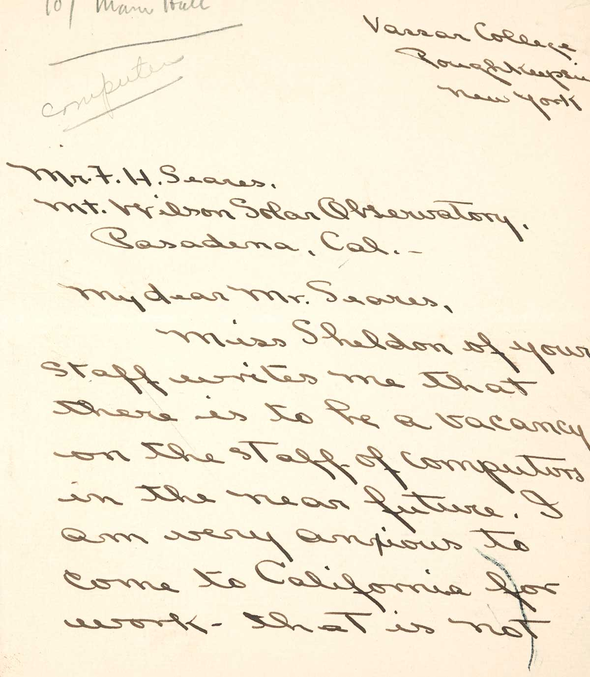 Letter to F.H. Seares of Mt. Wilson observatory from Ruth Barnett p1 | Image courtesy of the Observatories of the Carnegie Institution for Science Collection at the Huntington Library, San Marino, California
