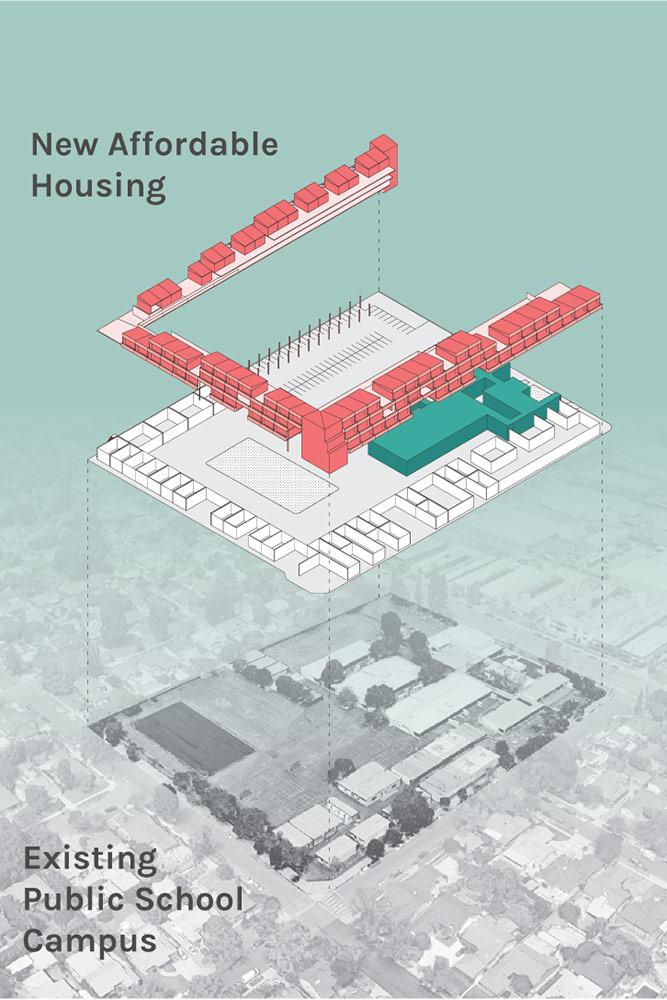 Living in the 21st Century Schoolyard, rendering (2019) | cityLAB UCLA with Chris Doerr, Jean-Michel Hirsch, Daniel Polk