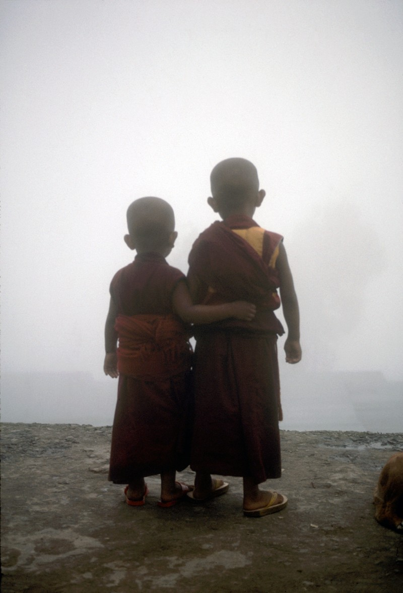 A young monk and his brother, Sonada Tibetan Buddhist Monastery, Darjeeling, India, 1989 | Don Farber