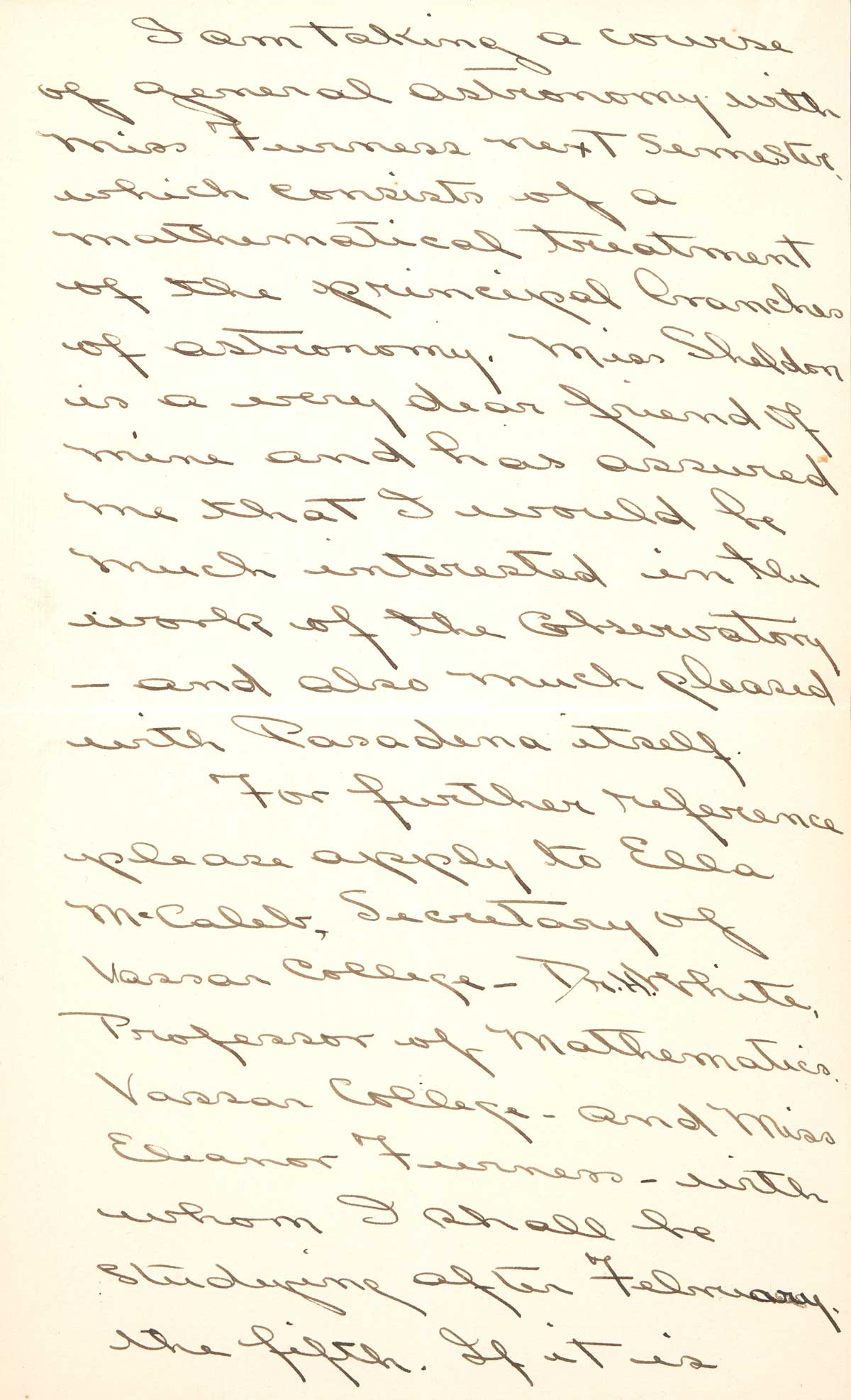 Letter to F.H. Seares of Mt. Wilson observatory from Ruth Barnett p3 | Image courtesy of the Observatories of the Carnegie Institution for Science Collection at the Huntington Library, San Marino, California
