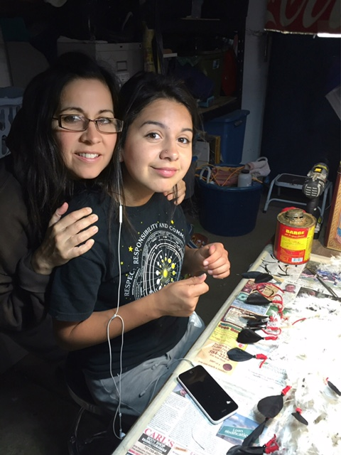 Leah Mata and her daughter working on a few pieces | Courtesy of Leah Mata