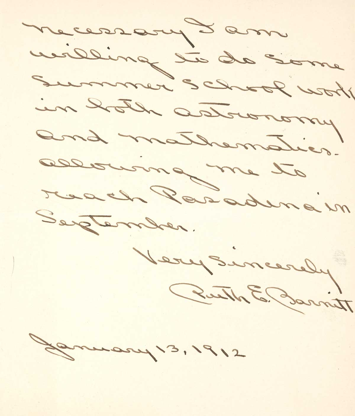 Letter to F.H. Seares of Mt. Wilson observatory from Ruth Barnett p4 | Image courtesy of the Observatories of the Carnegie Institution for Science Collection at the Huntington Library, San Marino, California