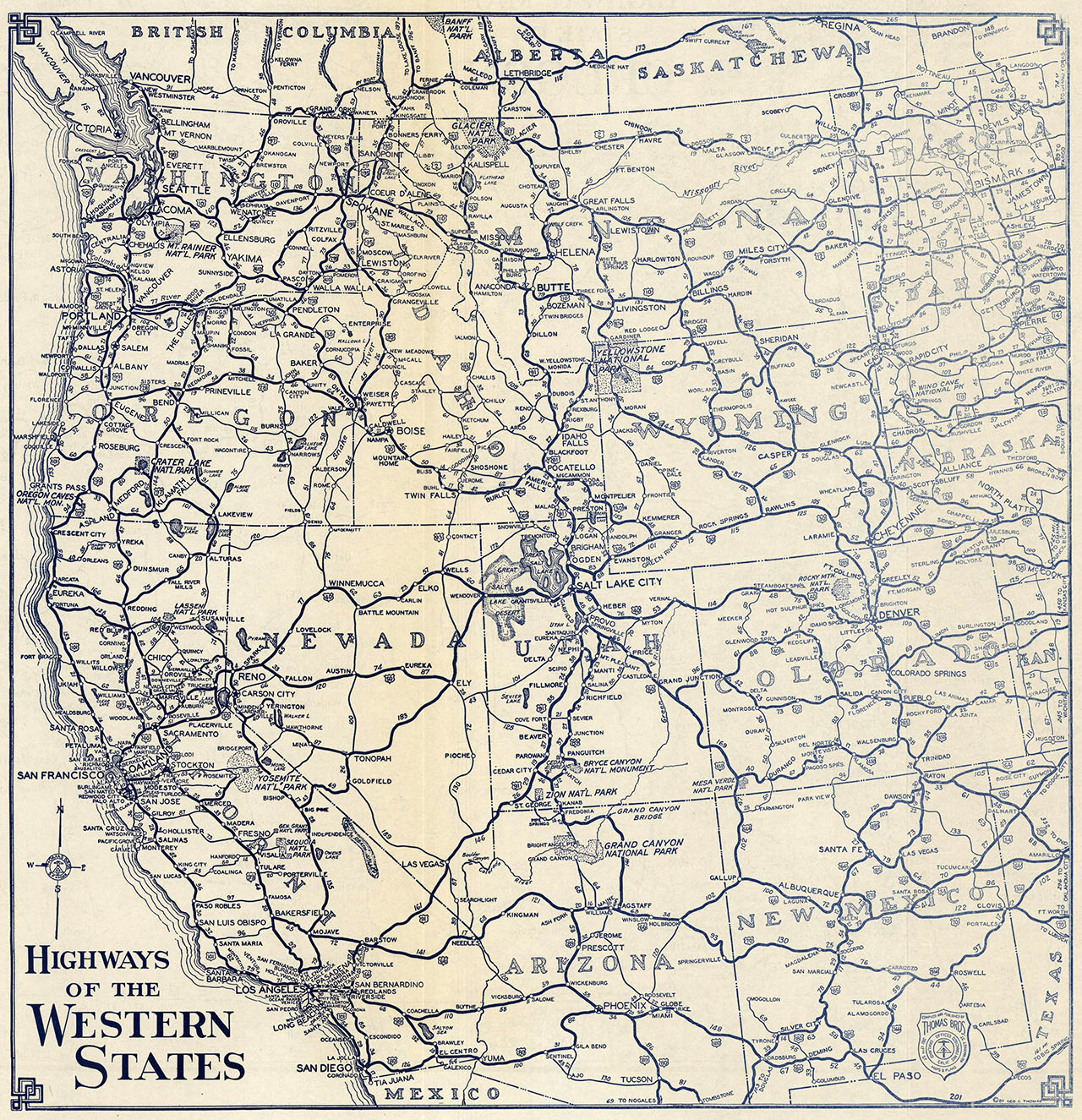 A 1938 Thomas Bros. map of the highways of the western United States. Courtesy of the David Rumsey Map Collection.