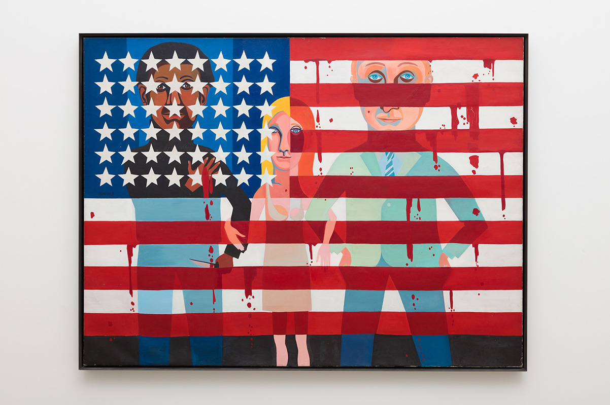 Faith Ringgold, The Flag is Bleeding, 1967. Oil on canvas | Pablo Enriquez, Courtesy of the Broad