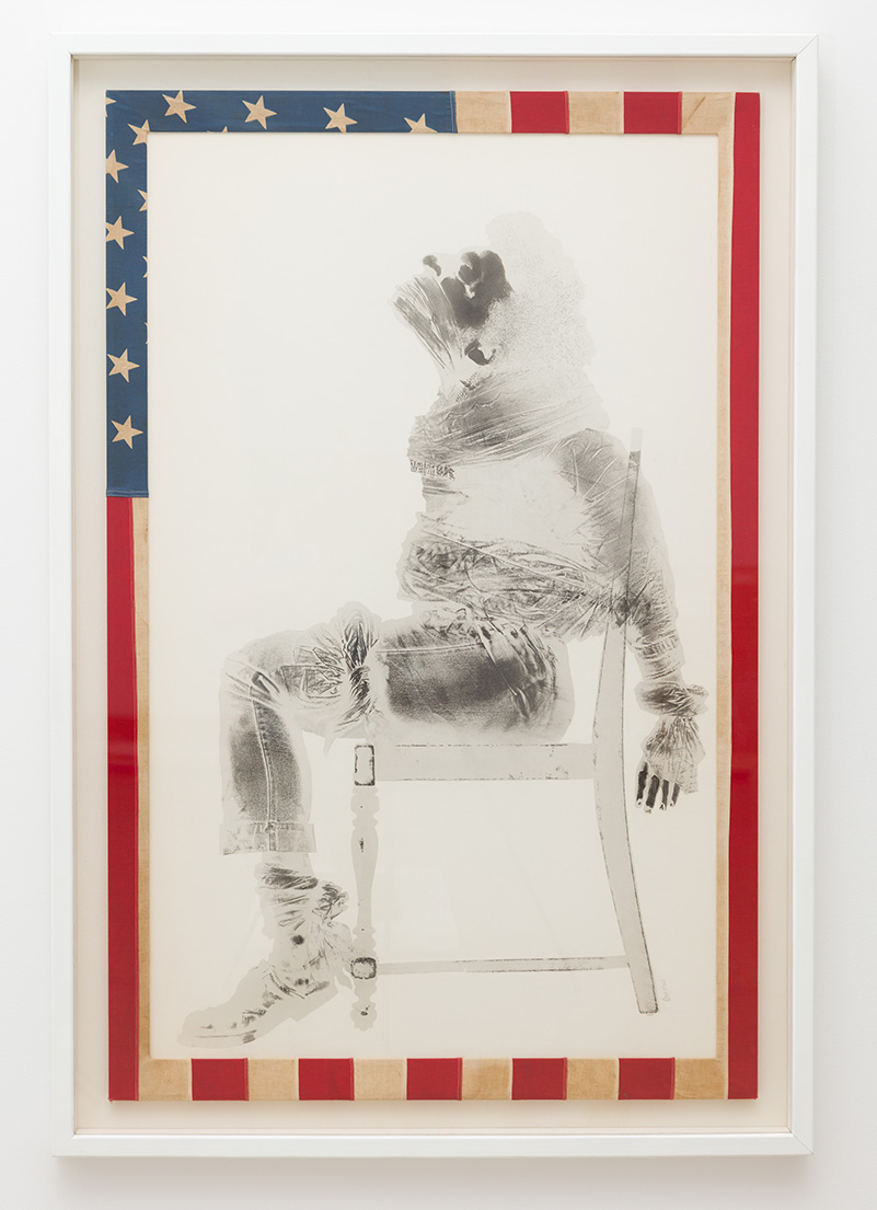 David Hammons, Injustice Case, 1970, print, body print (margarine and powdered pigments), and American flag | Pablo Enriquez, Courtesy of the Broad