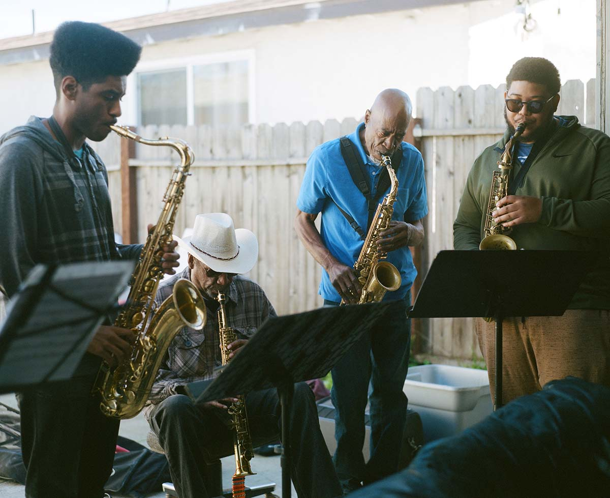 A multi-generational band called the Pan Afrikan Peoples Arkestra during rehearsals | Samantha Lee ab s11
