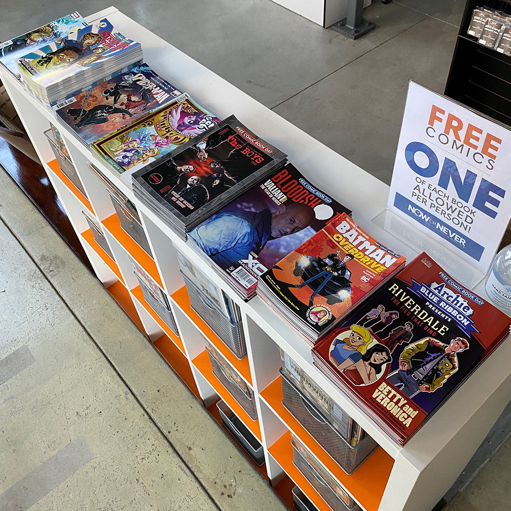 The bins at Now or Never Comics | Courtesy of Give Comics Hope