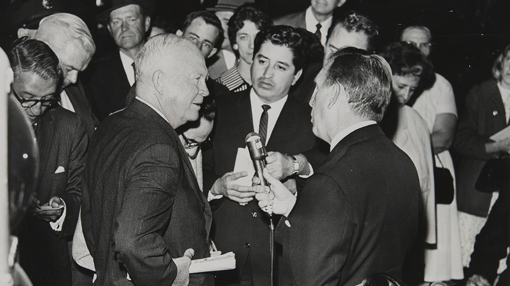 Rubén Salazar with former President Eisenhower, San Bernardino, CA, 1961| Rubén Salazar (1928-1970) Papers, USC Libraries Special Collections