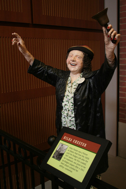 A fabric machete statue of Hilda Chester ringing her bell at the Baseball Hall of Fame