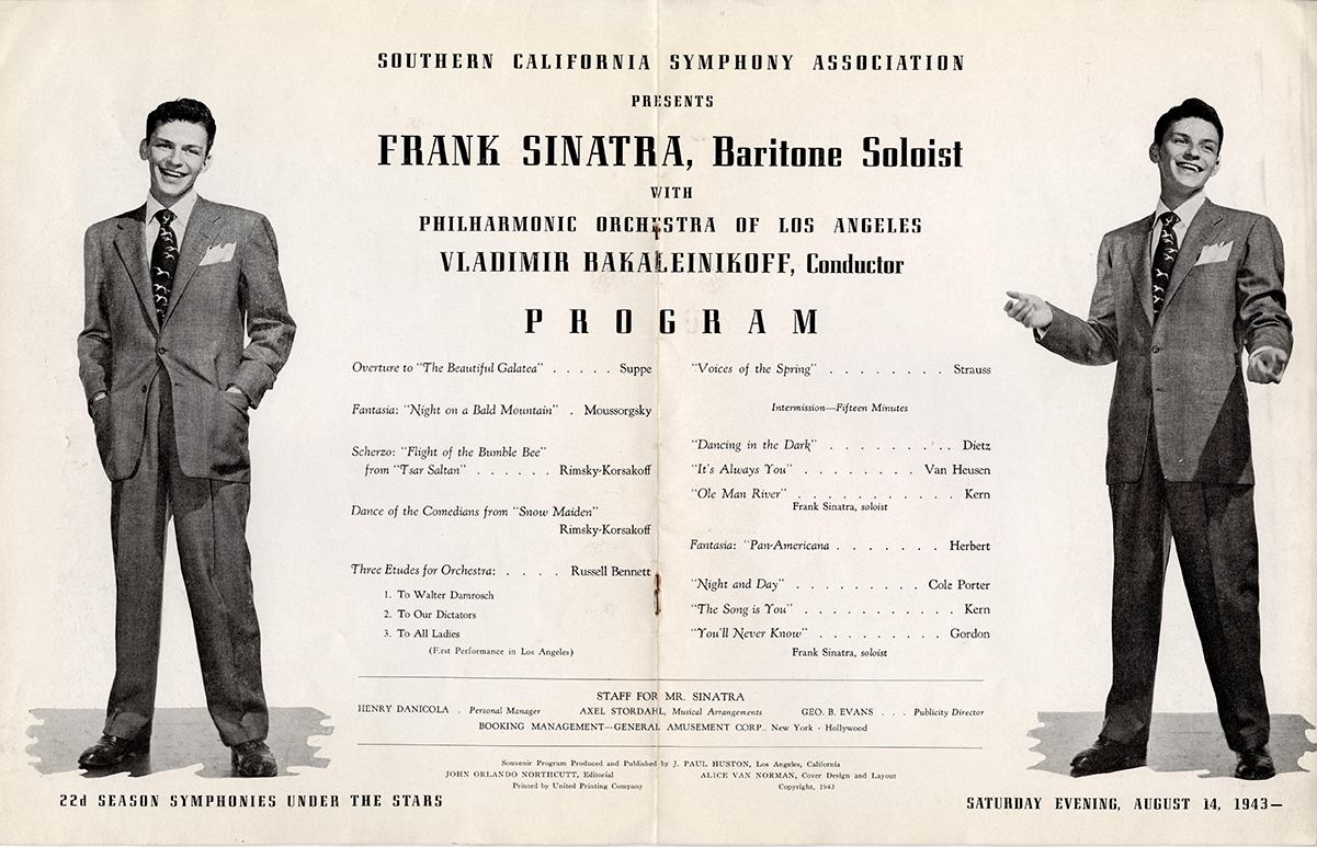 Frank Sinatra Hollywood Bowl Program cover, August 1943 | Los Angeles Philharmonic Archives