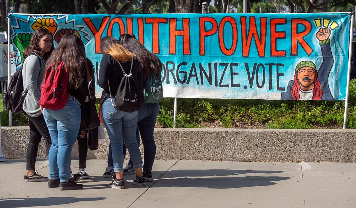 Youth Power posters motivate high school students to vote during the Power California event in Norwalk on Wednesday, October 24, 2018.   Mindy Schauer/Digital First Media/Orange County Register via Getty Images