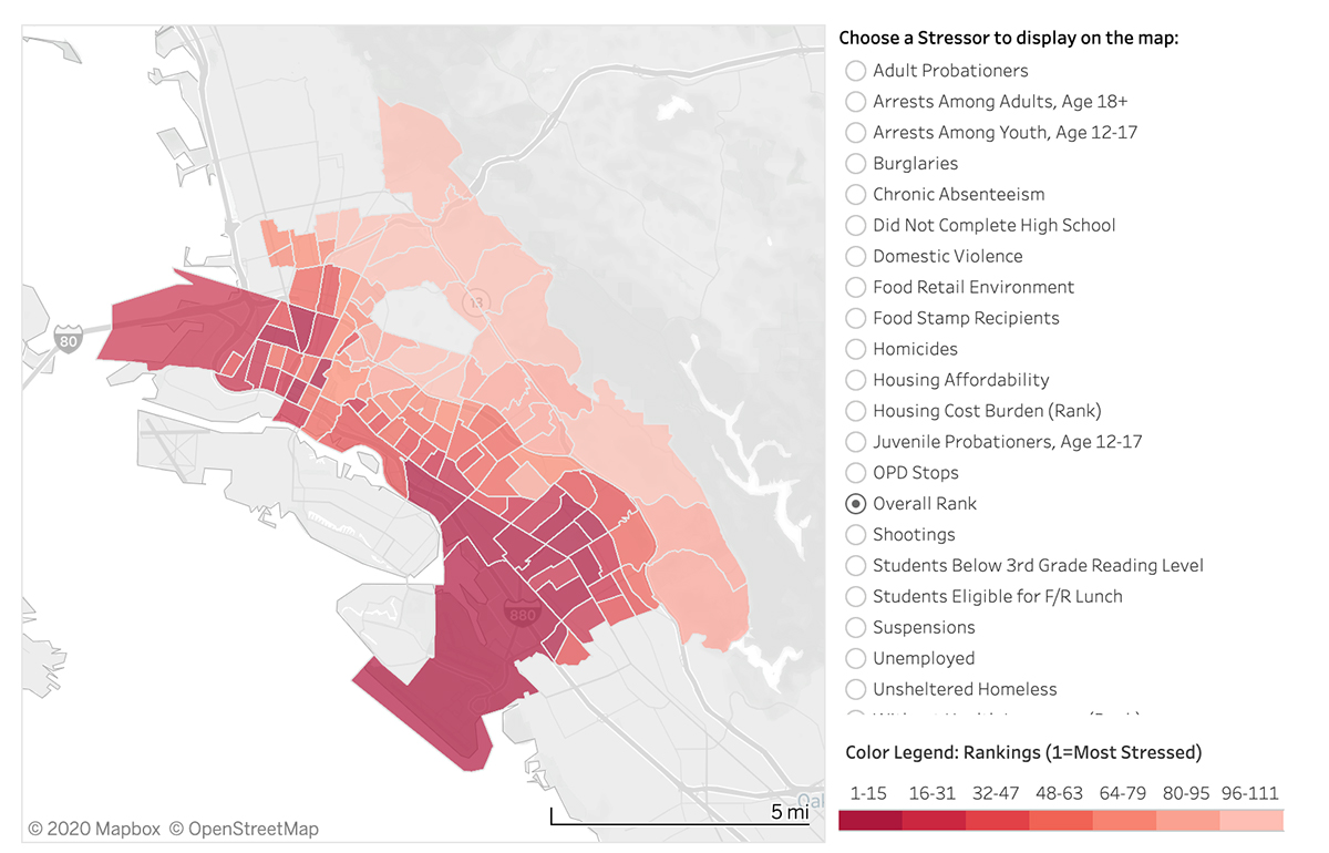 City of Oakland Community Stressor Index Graph as of June 23rd, 2020 illustrates the impacted communities below the 580 Interstate freeway that divides the affluent from socioeconomic neighborhoods.   City of Oakland