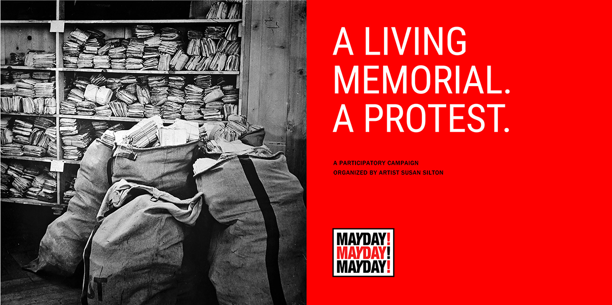 """The landing page of Susan Silton's """"Mayday! Mayday! Mayday!"""" project features a black and white image of mail bags and the words """"A living memorial. A protest.""""   Courtesy of Susan Silton"""