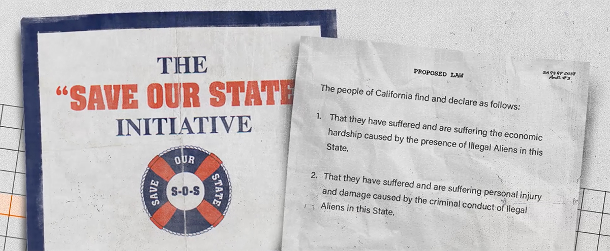 """An image of the """"Save Our State"""" initiative along with highlighted language   Still from """"187"""""""