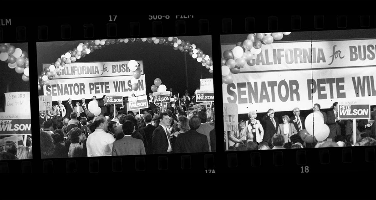 """Senator Pete Wilson campaigning   Still from """"187"""""""