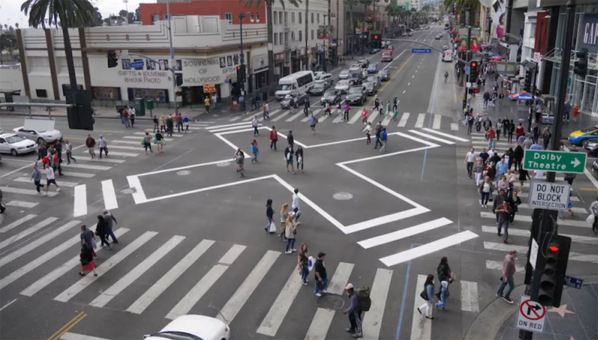 NDSC Pedestrian Hollywood and Highland Scramble Crosswalk LADOT