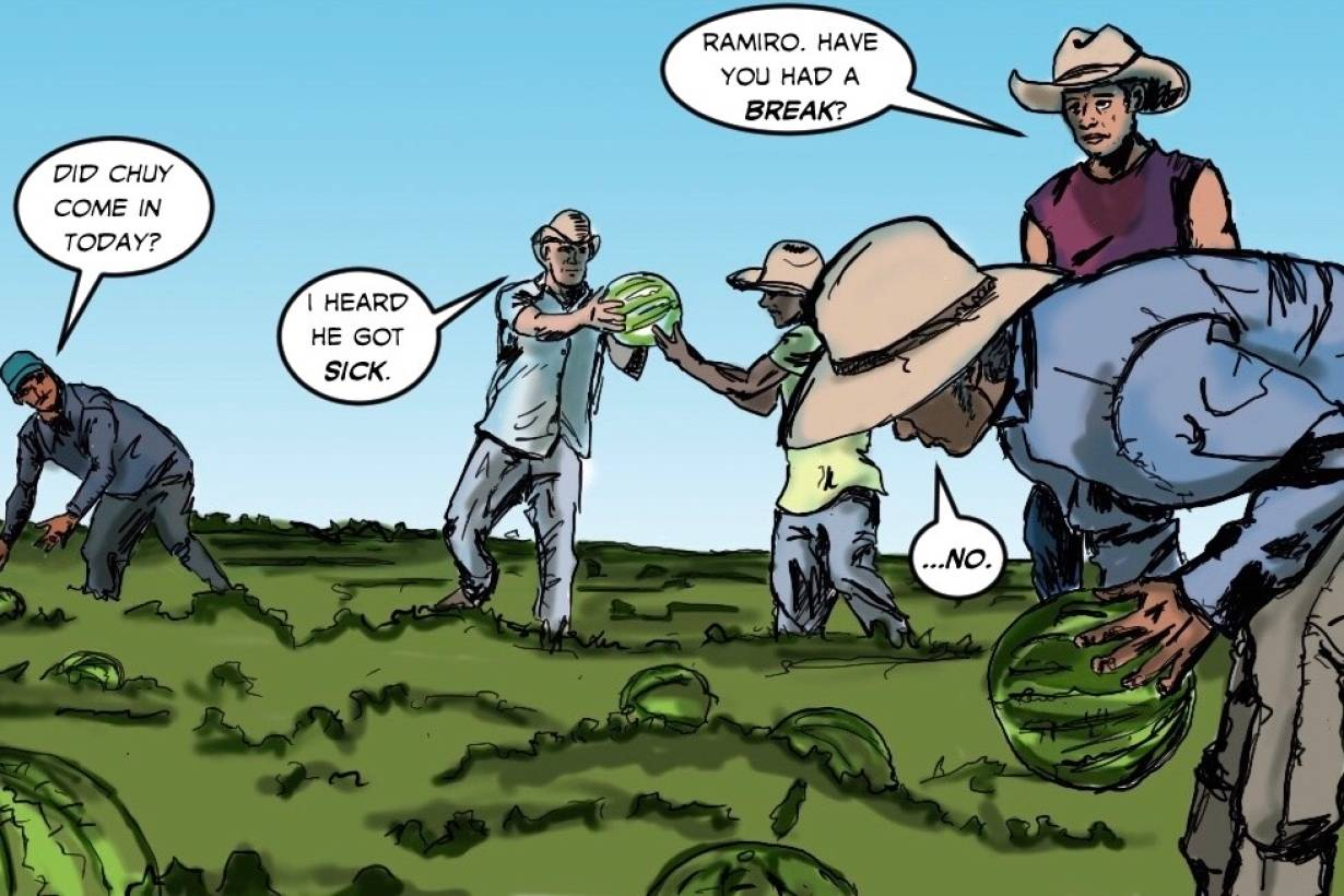Latino migrant workers in the United States feature in the latest edition of the comic book 'El Peso Hero' by Hector Rodriguez, 1 June, 2020. | Handout / Thomson Reuters Foundation