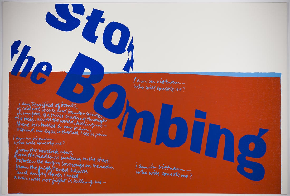 stop the bombing, 1967 | Collection UCLA Grunwald Center for the Graphic Arts, Hammer Museum. Corita Kent Bequest.​