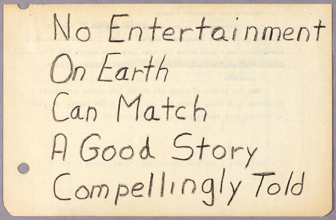 """Octavia E. Butler, notes on writing, """"No entertainment on earth…"""" ca. 1970-1995. The Huntington Library, Art Collections, and Botanical Gardens. © Estate of Octavia E. Butler."""