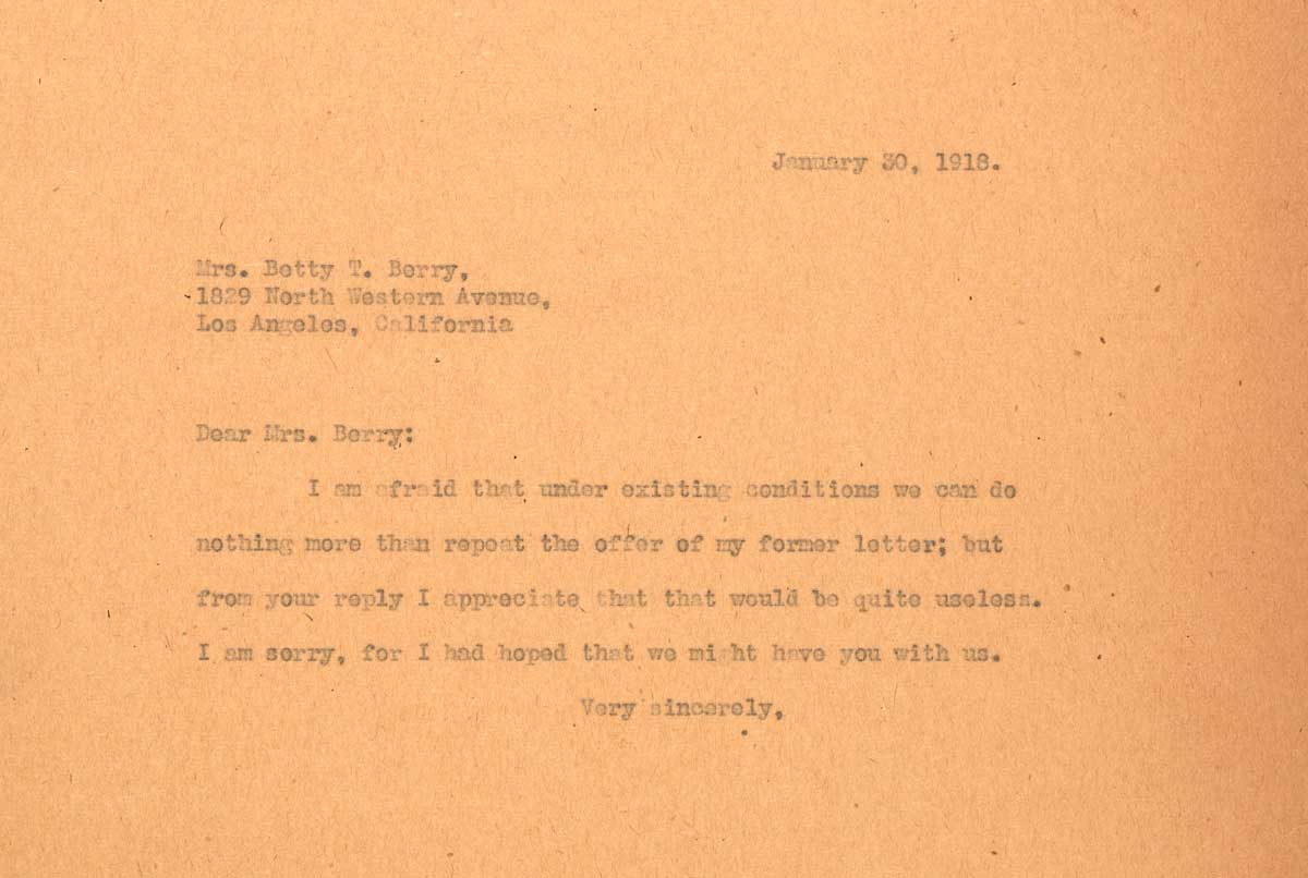 Letter to Betty Trier Berry from F.H. Seares of Mt. Wilson observatory | Image courtesy of the Observatories of the Carnegie Institution for Science Collection at the Huntington Library, San Marino, California