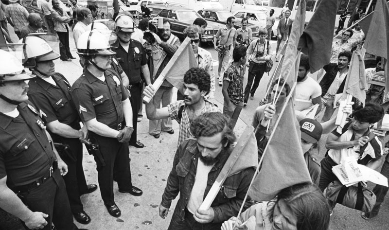 "May Day 1981 was ""observed in a peaceful way, with about three times as many police officers as demonstrators attending a march sponsored by the Revolutionary Communist Party."