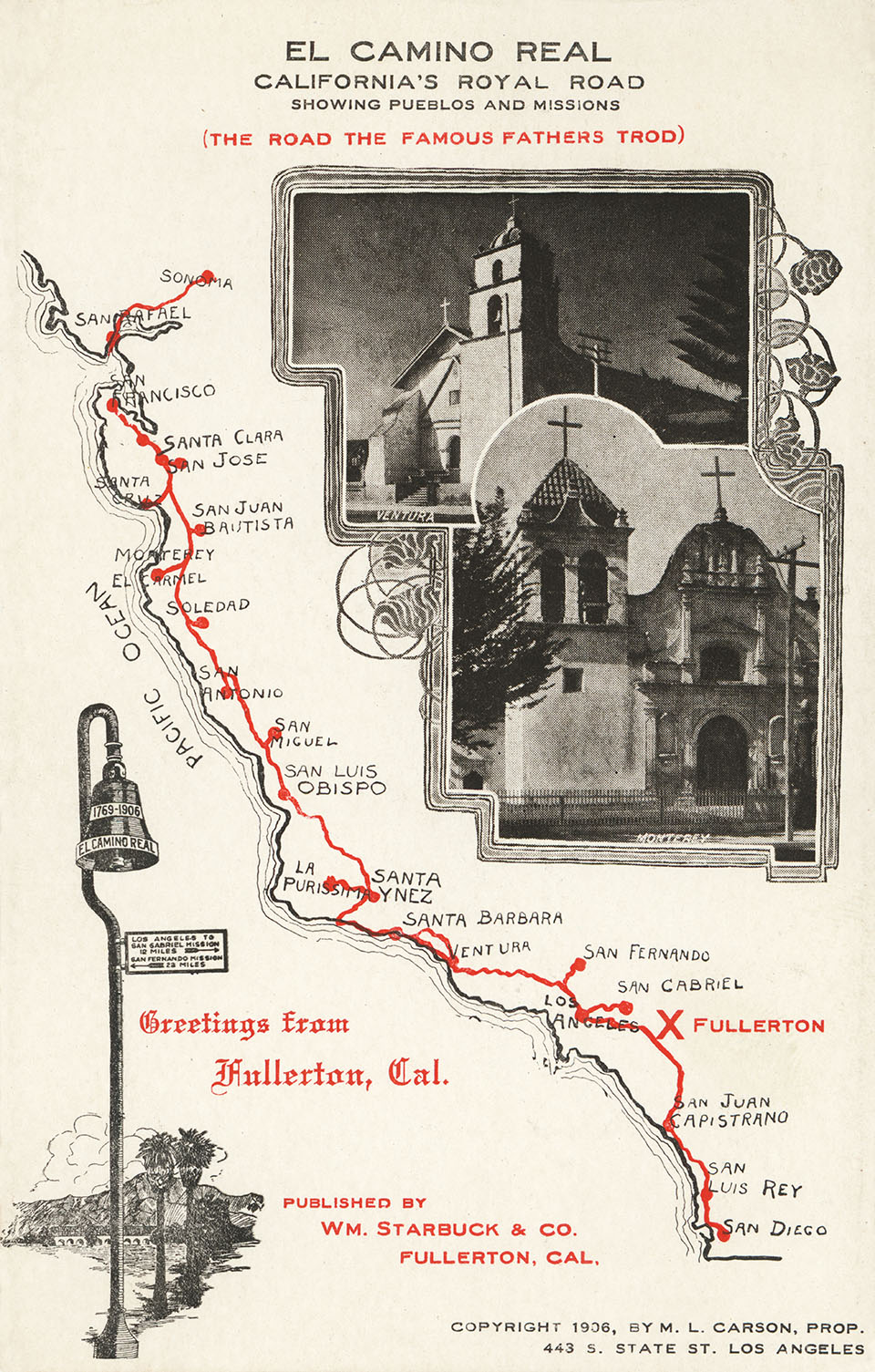 1936 map of El Camino Real