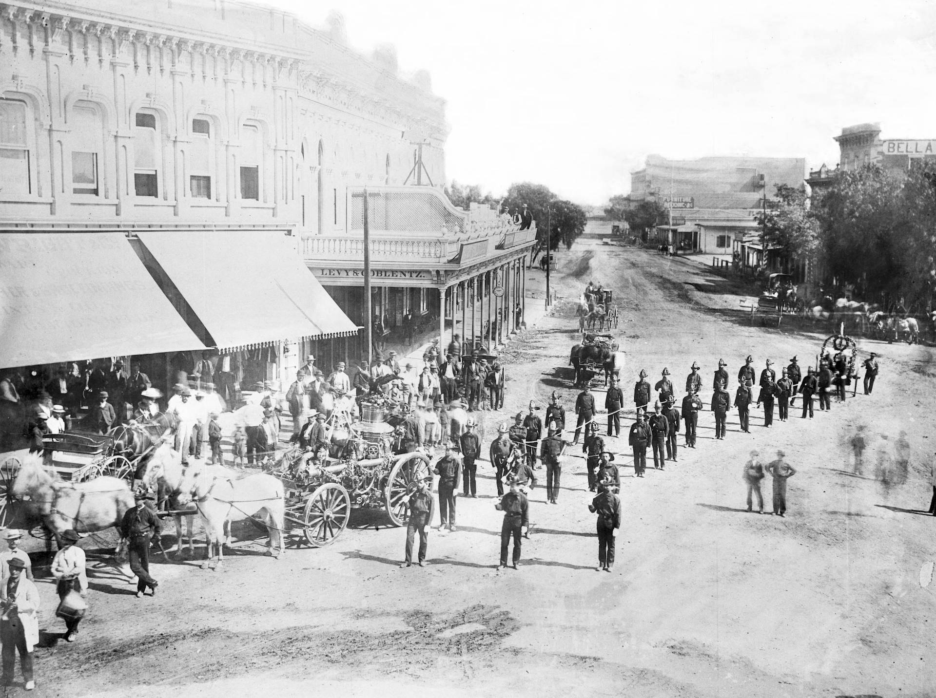Los Angeles Fourth of July Parade down Main Street, 1871