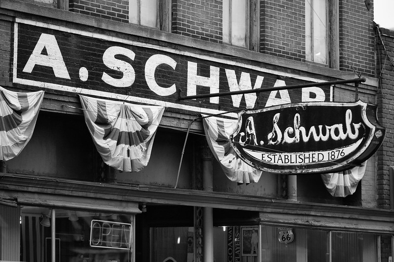 A black and white image of the A Schwab storefront on 163 Beale Street Memphis, TN  | Thomas Hawk/Flickr/Creative Commons