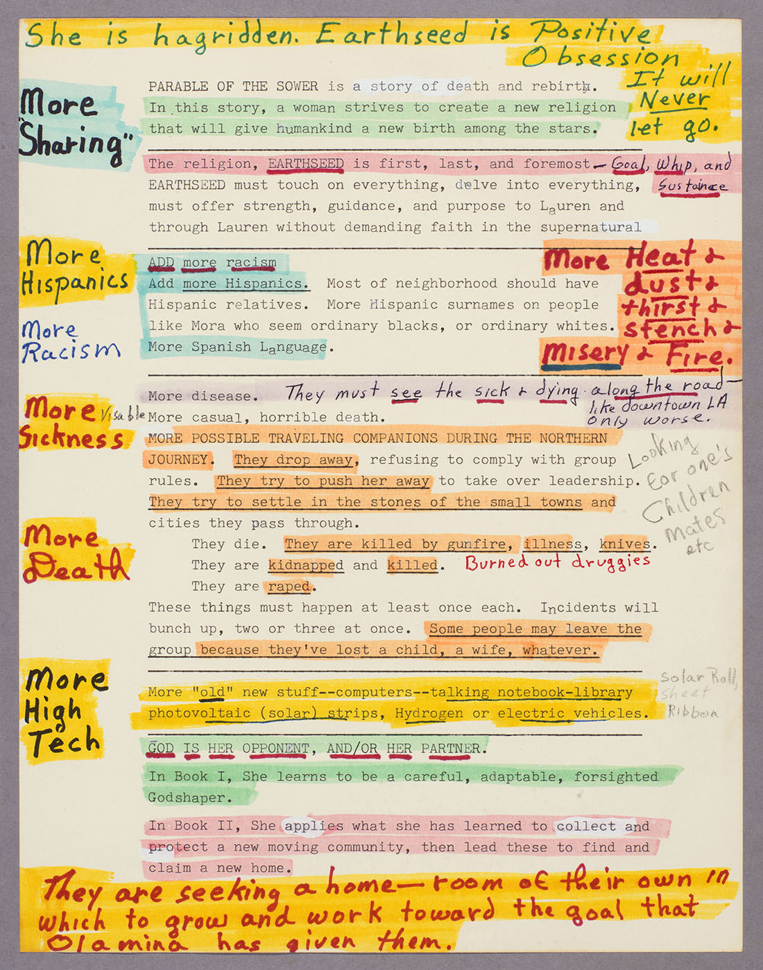 Octavia E. Butler, outline and notes for Parable of the Sower, ca. 1989. The Huntington Library, Art Collections, and Botanical Gardens. © Estate of Octavia E. Butler.
