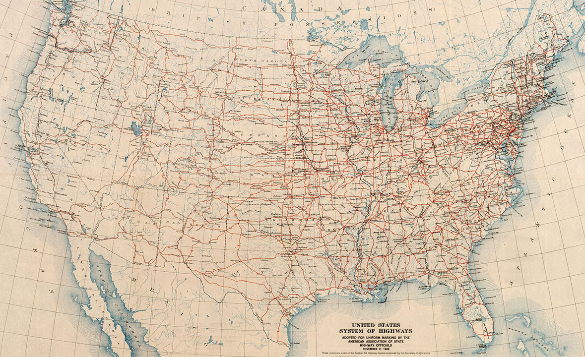 official map of the original us numbered highways as adopted by the joint board of