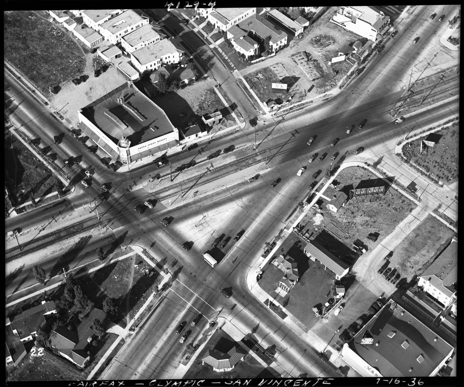 Many streetcar boulevards cut across the street grid at odd angles, creating complicated intersections, like that of San Vicente, Fairfax, and Olympic, seen here in 1936. Courtesy of the Automobile Club of Southern California Archives.