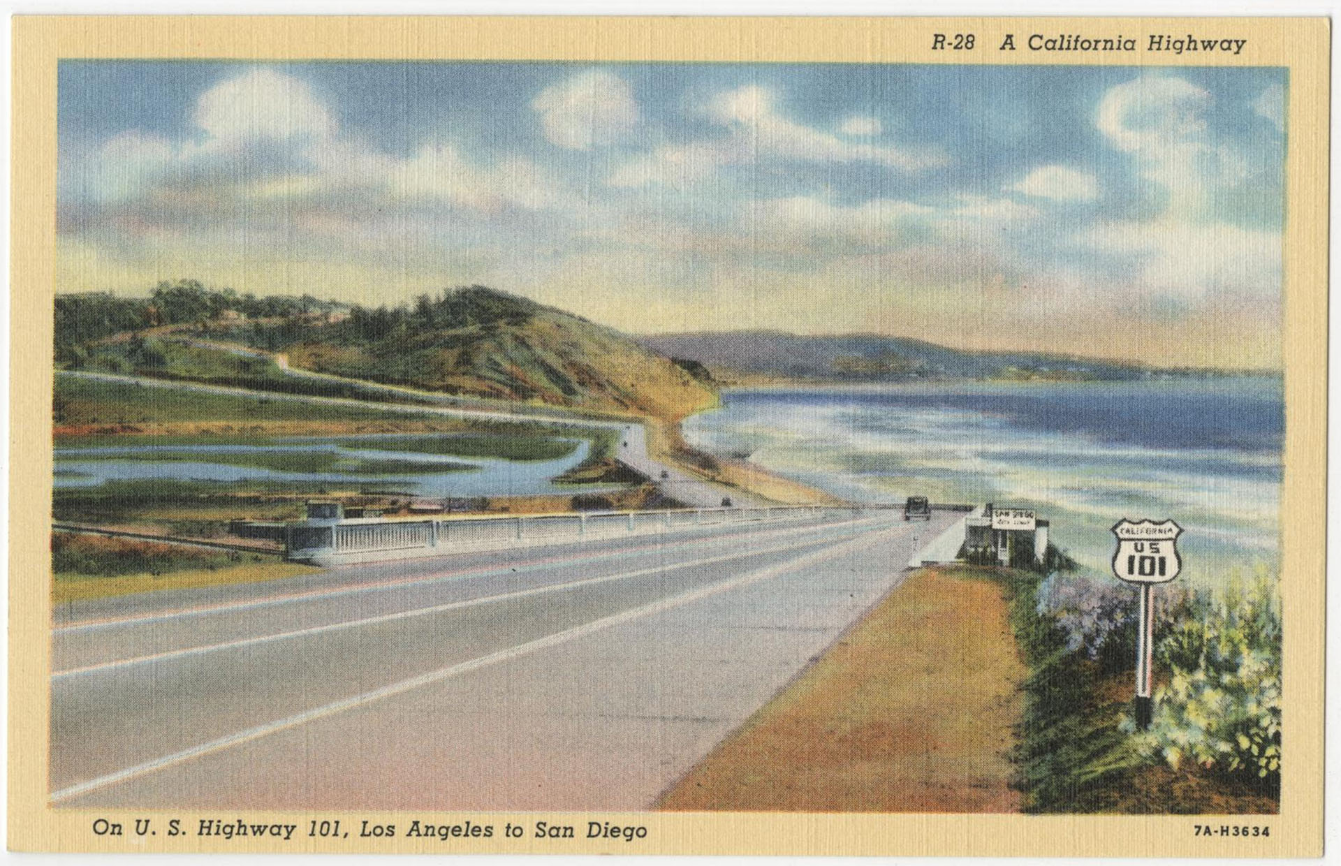 """A California Highway"" – 1937 postcard of U.S. 101"