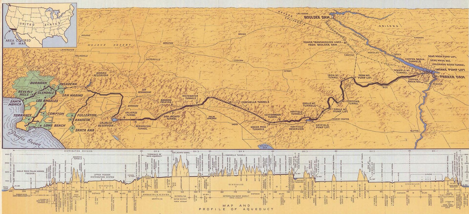 1939 map of the Colorado River Aqueduct