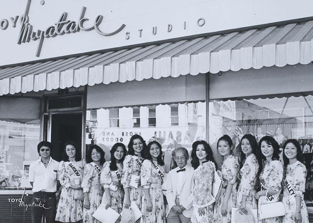 The 1975 Nisei Week Queen and her court with Toyo Miyatake | Courtesy of Toyo Miyatake Studio