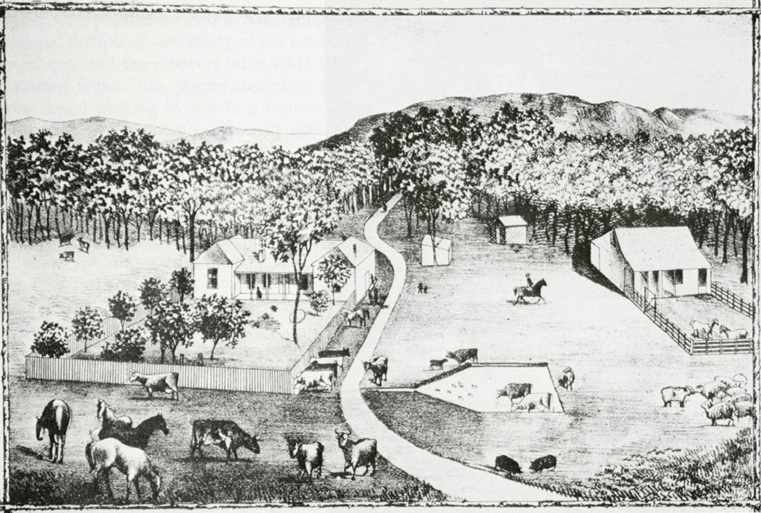 Early landscape alterations in California are the result of Spanish farming and ranching, depicted in this 1883 lithograph of Rancho Estudillo, in San Diego County