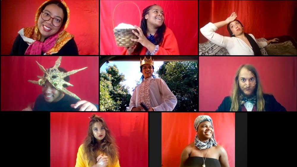 The Wallis Studio Ensemble presents Fairyland Foibles, featuring (top row L-R) Ella M Joseph, Kendell Byrd, Tiana Randall Quant; (middle row L-R) Trecey Dory, Kelvin Morales, Alexander Sheldon; (bottom row L-R) Marlena Becker, Siera Williams | M. Dahm