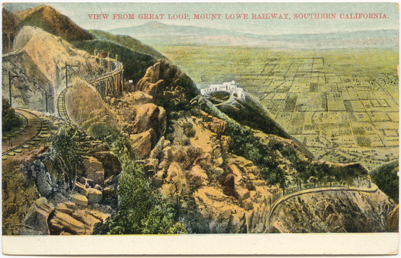 Undated postcard of the Mt. Lowe Railway's Great Loop, including Circular Bridge in the distance