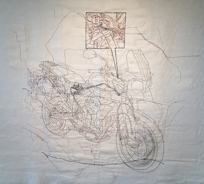"""Triumph,"" Cotton floss on linen burlap, Collection Cherryhurst House, 2013. 