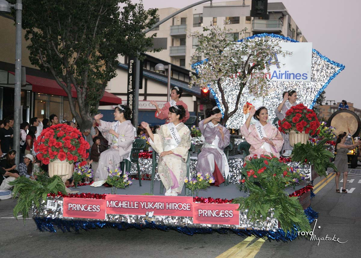 The queen and her court during the 2009 Nisei Week Parade | Courtesy of Toyo Miyatake Studio
