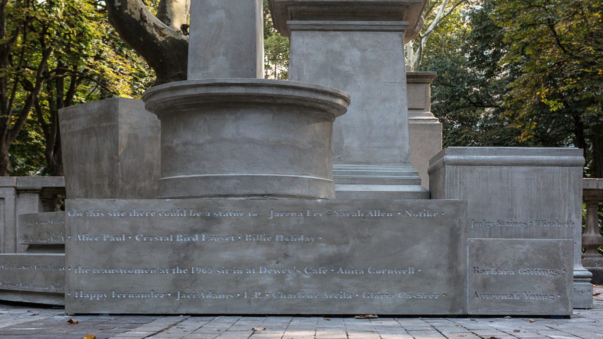 """Sharon Hayes' """"If They Should Ask"""" (2017) features concrete pedestals with names of women who could have sculptures made of them in the city of Philadelphia. 