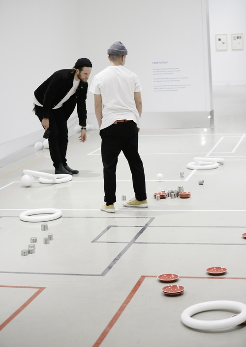 """Common Ground,"" transforms a gallery floor into an interactive sonic game board 
