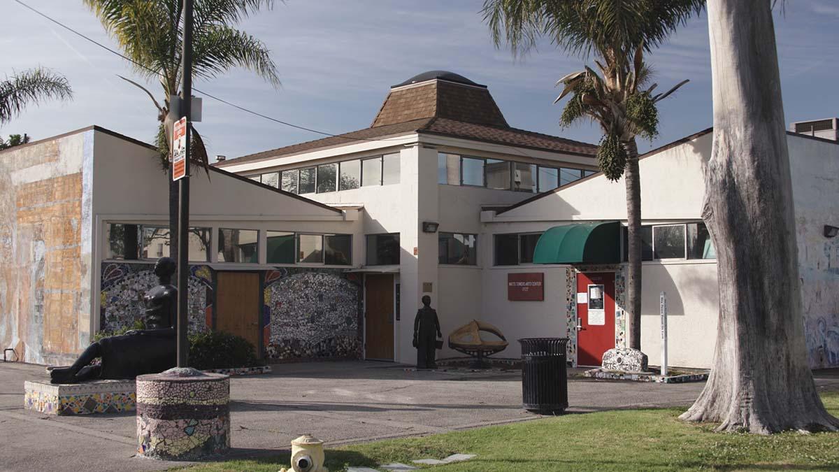 """Exterior of Watts Towers Arts Center   Still from """"The Watts Towers Arts Center"""" ab s11"""