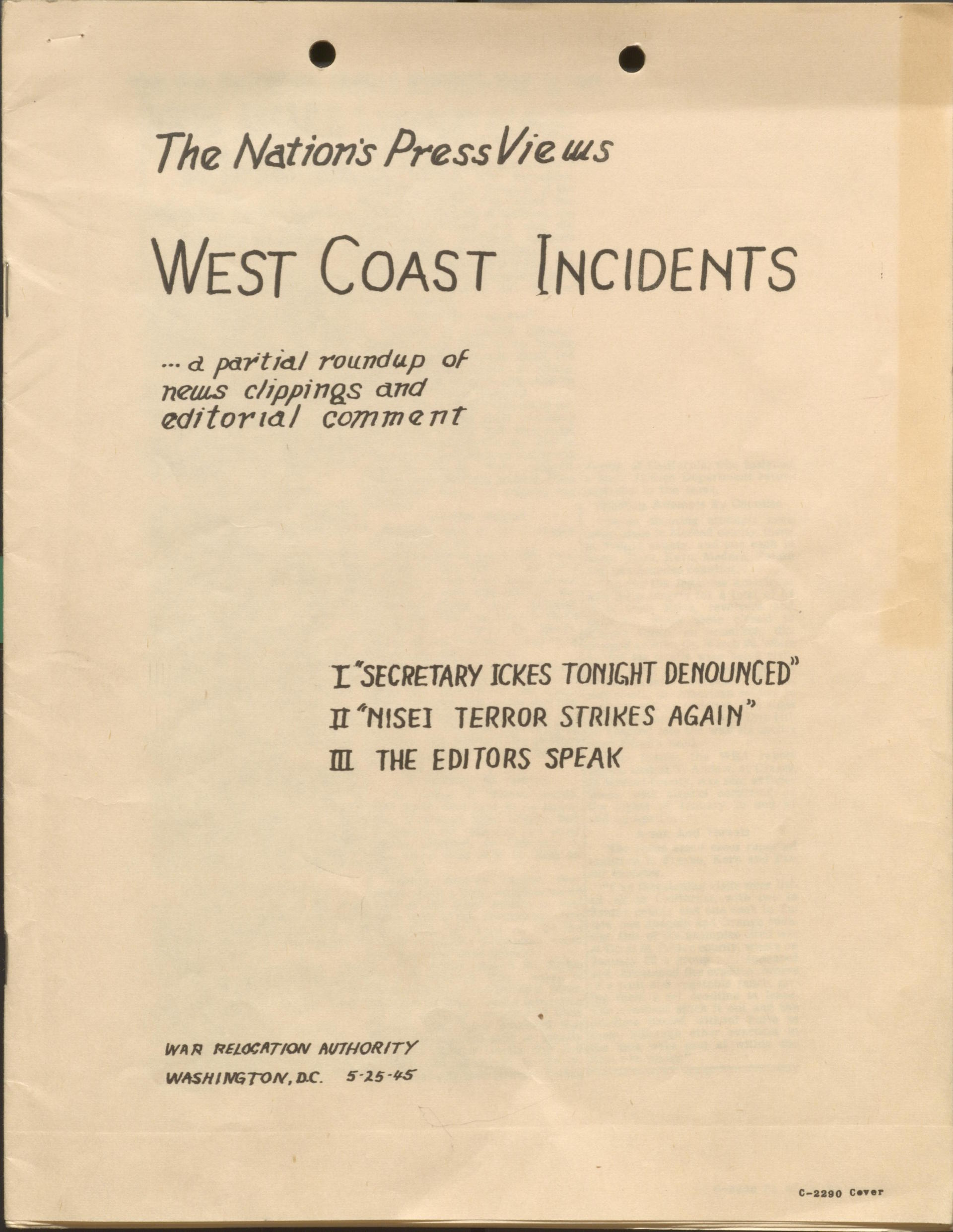 """West Coast Incidents"""
