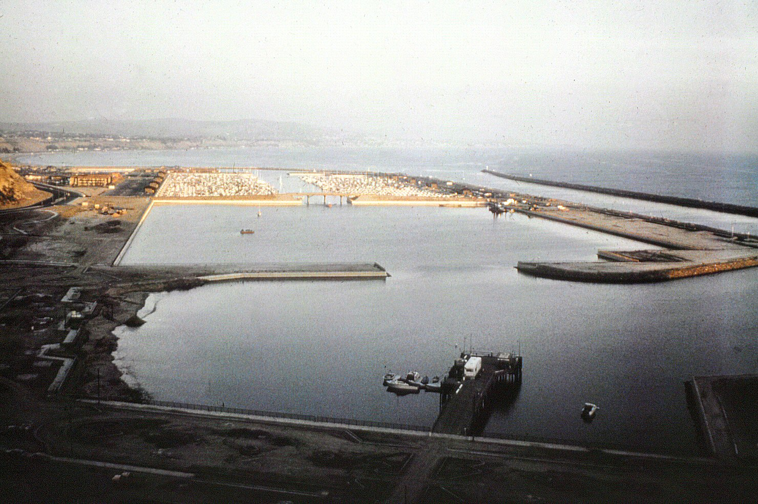 Dana Point Harbor as a work in progress, circa 1971. Courtesy of the Orange County Archives.