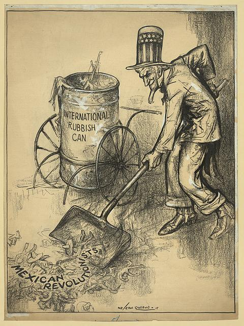 Cartoon depicting Uncle Sam picking up Mexican revolutionists with a shovel for the international rubbish can. (1915) | Nelson Greene / Library of Congress