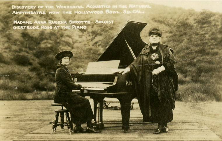 3-Soprano Anna Ruzena Sprotte and composer/pianist Gertrude Ross trucked in a piano to test the acoustics from a platform at the bottom of the hill to figure out how best to situate the stage, circa 1921. | University of Southern California Libraries