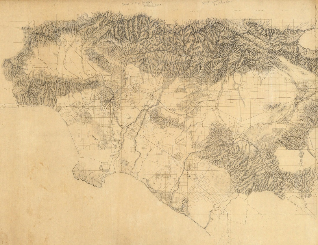 Los Angeles & San Bernardino Topography Map (1880)