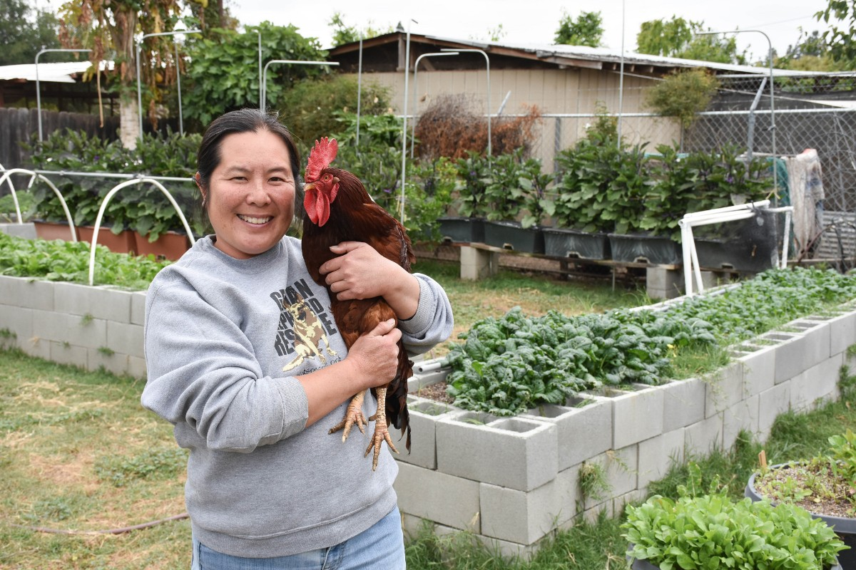 Nancy Chin at her urban farm | Clarissa Wei