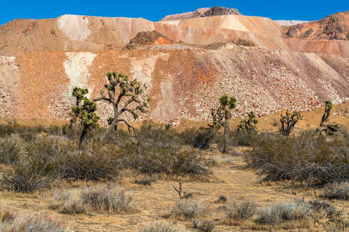 A section of multicolored waste tailings from the Gold Queen Mine, Mojave, California. | Kim Stringfellow.